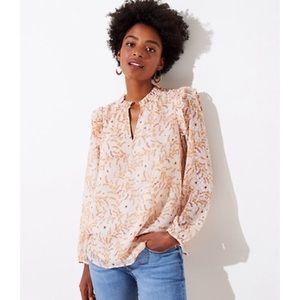 LOFT Floral Split Neck Blouse Size XL